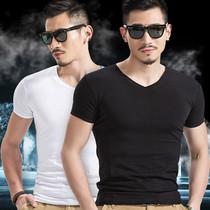 男士简约款夏季半袖纯色V领打底衫大码短袖t恤弹力9.9元冰丝丅恤