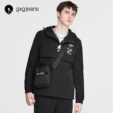 新品 黑色修身 夹克外套171621001 gxg.jeans男装 春季