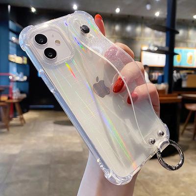 镭射腕带iphone11苹果12手机壳13女pro硅胶Xs潮牌Max防摔8plus透明X少女XR网红12promax保护套闪粉7p支架适用