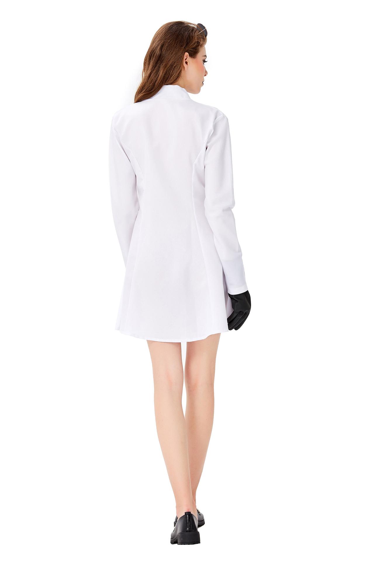 男性は同じタイプの白い上着の医師と看護師のコスプレハロウィン狂った科学者の服の女性を演じます。