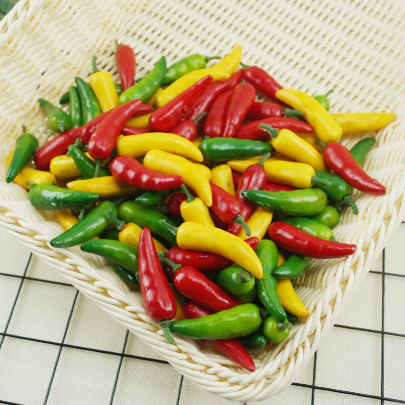 (用1元券)仿真辣椒 迷你蔬菜水果模型假小号红黄绿辣椒尖椒厨房装饰道具