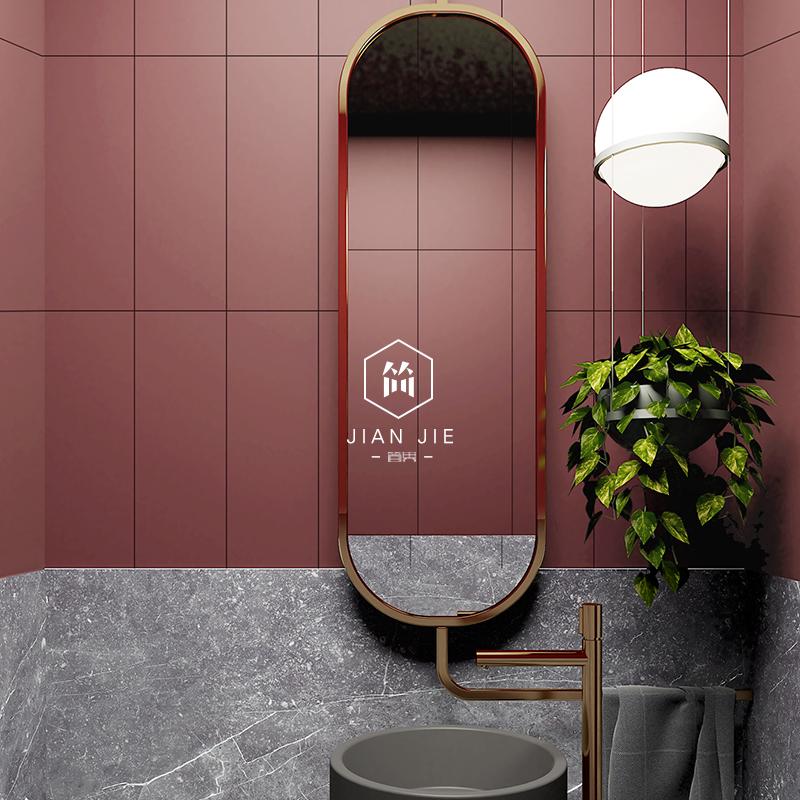 马卡龙彩色砖北欧卫生间瓷砖厕所浴室墙砖粉色厨房复古红色仿古砖 Изображение 1
