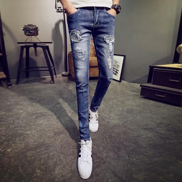 16刺绣牛仔裤男弹力紧身个性潮流绣鹤中国风破洞男裤子长裤夏季薄