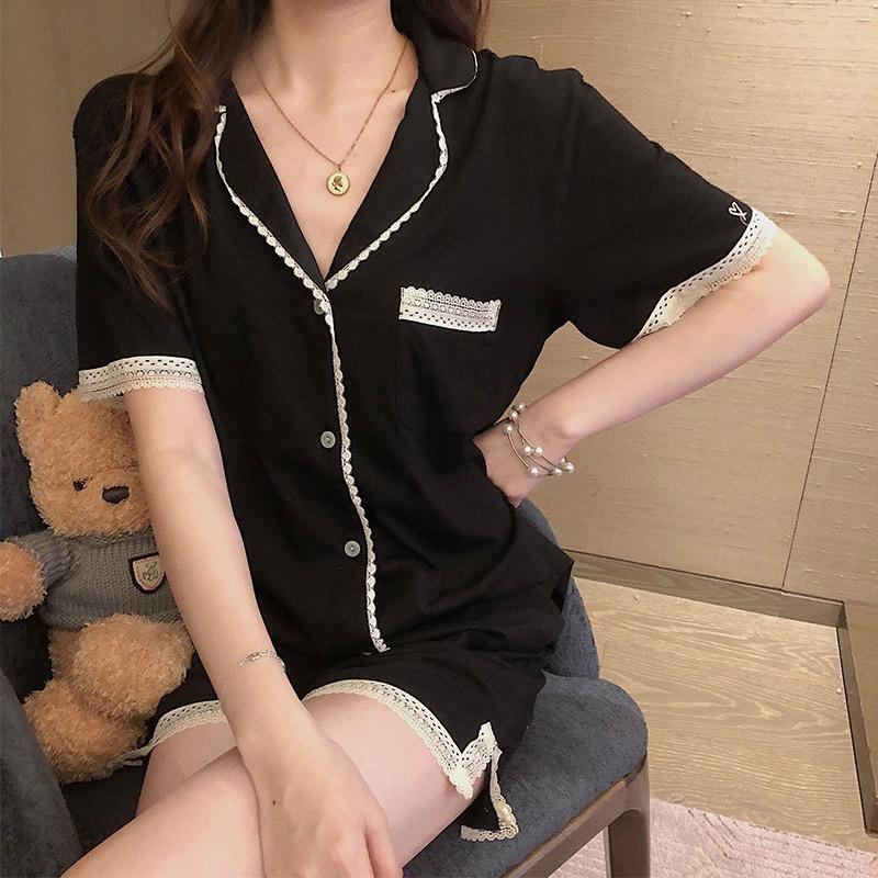 睡衣女夏季莫代尔短裤短袖两件套薄款小香风ins风性感家居服套装
