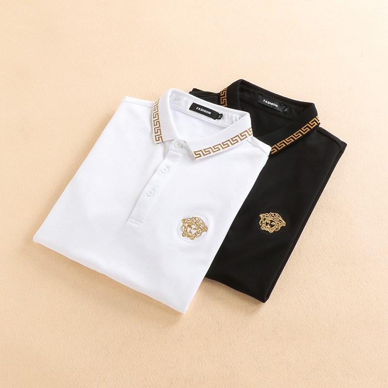 欧洲站短袖Polo衫男士潮牌修身纯棉美杜莎刺刺绣翻领T恤大码男装