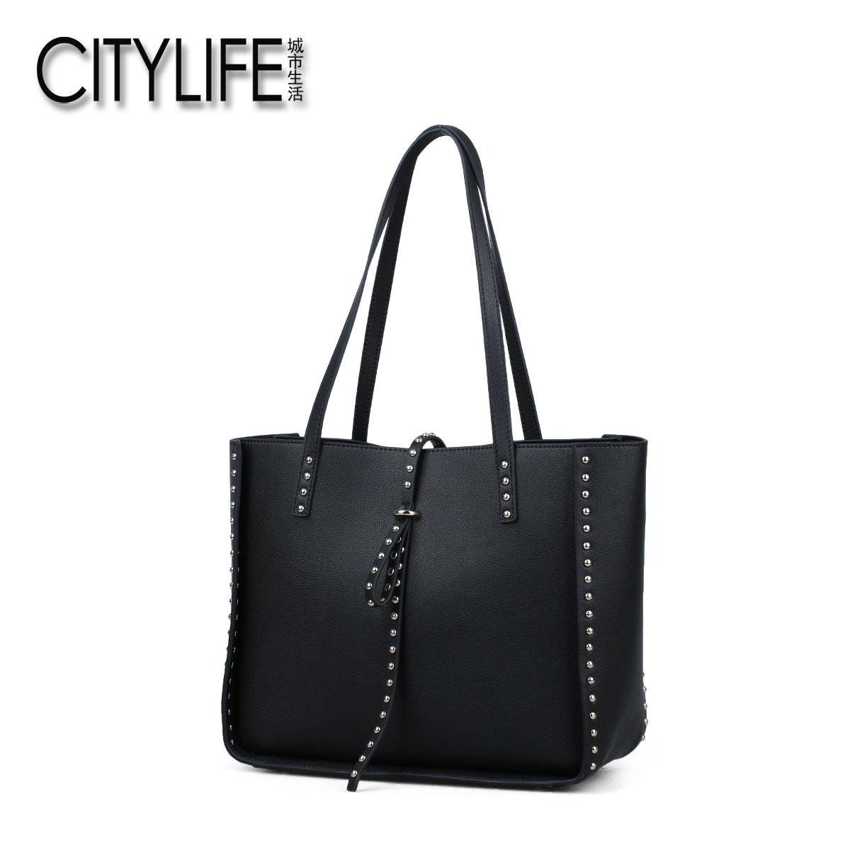 城市生活CITYLIFE女包新款�杉�套子母包牛皮�渭绨��T�手提包包