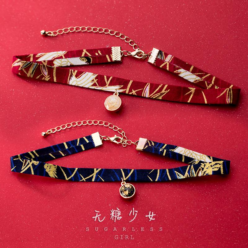 浮世绘 日式和风chocker仙鹤复古流苏锁骨链中国风短款个性颈链