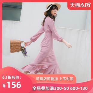 鱼尾连衣裙长款初秋季雪纺长袖包臀长裙修身仙女超仙甜美粉色显瘦
