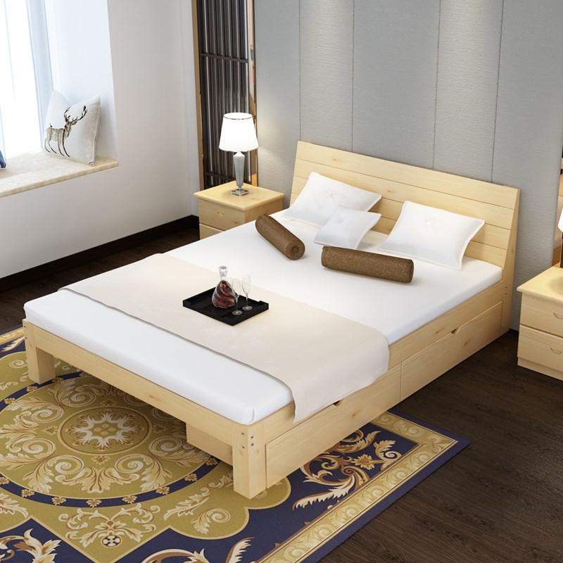双人床头矮架快捷酒店主卧木头床出租屋床板式床双人床铺板