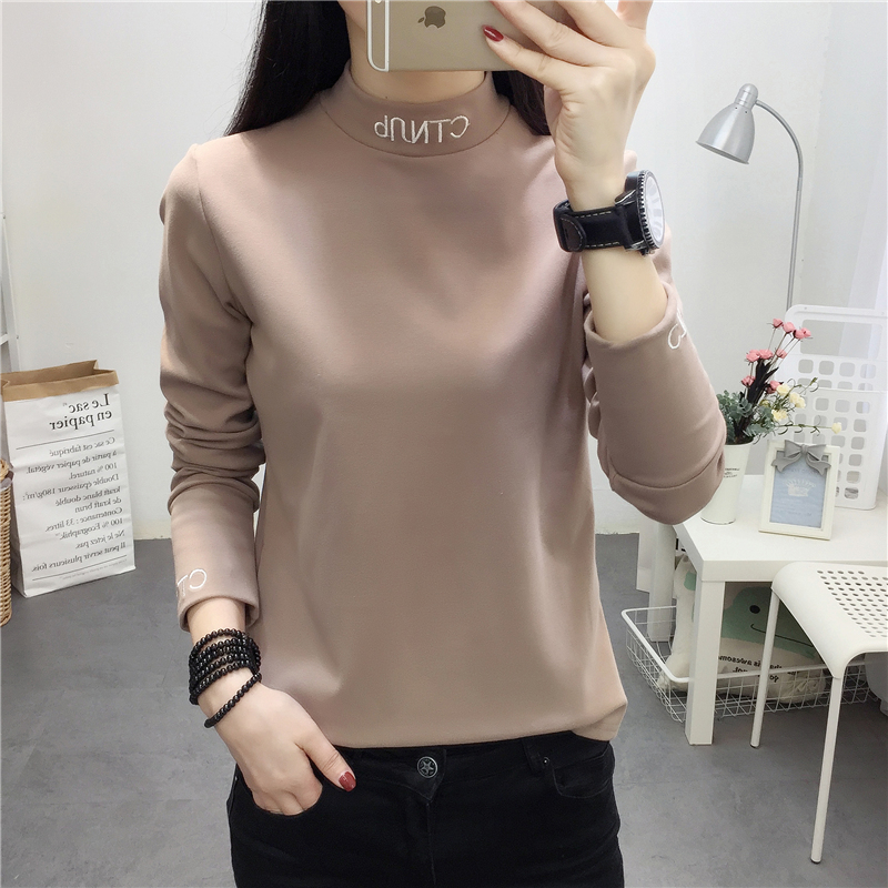 Spring and Autumn New Korean Edition with Tight Bottom Shirt, Long Sleeve T-shirt, Small High-collar Embroidery Letter to Repair Clothes