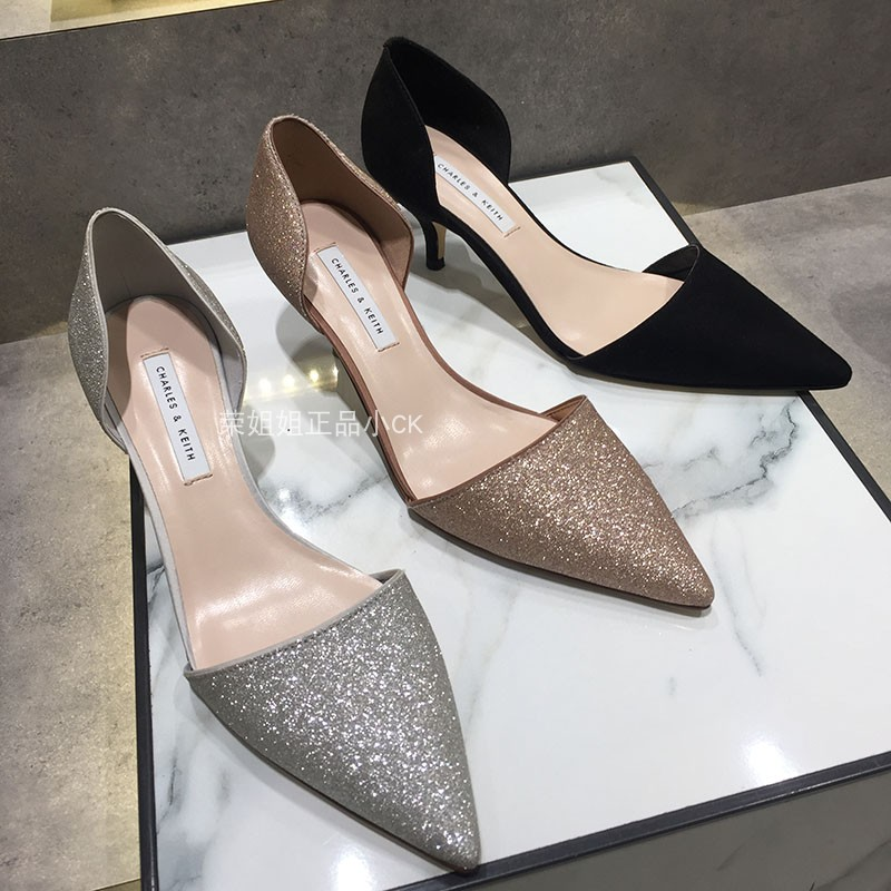 Spring and autumn 2019 small CK low top shoes, single shoes, Sequin cloth, banquet pointy thin high heel Olympic shoes ck1-61680036