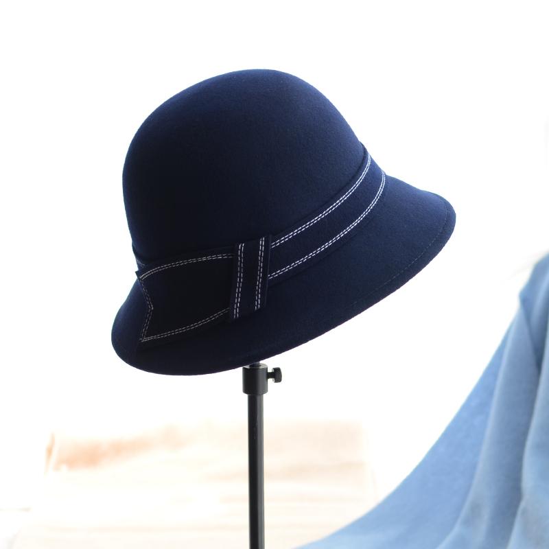 买三送一冬季羊毛呢优雅名媛简约复古渔夫帽