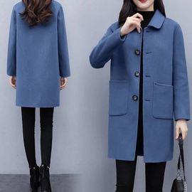 2020新款加棉加厚秋冬季大衣中长款修身显瘦流行女毛呢外套西装