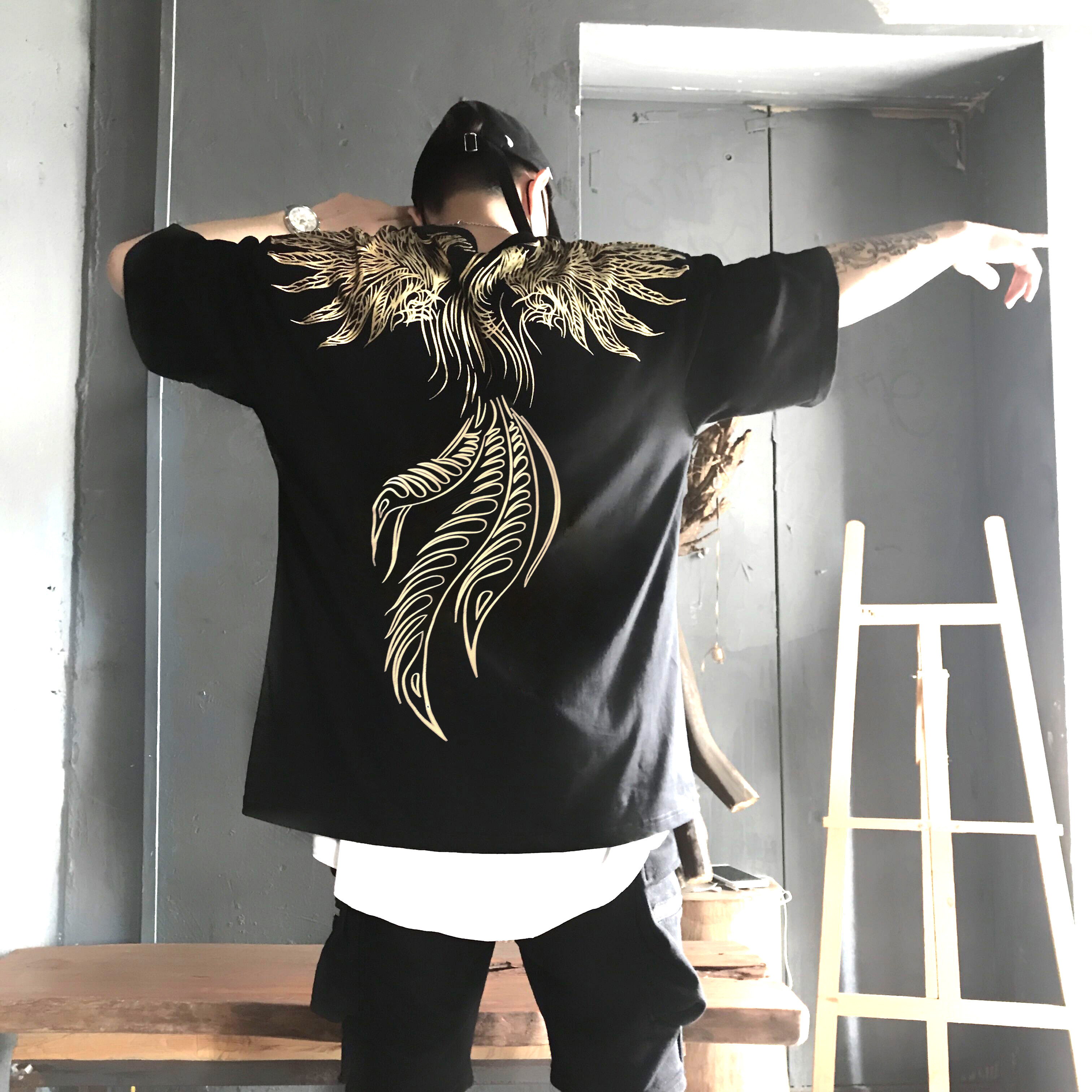 ins超火同款国潮新款凤凰翅膀短袖男女情侣宽松嘻哈hiphop上衣T恤