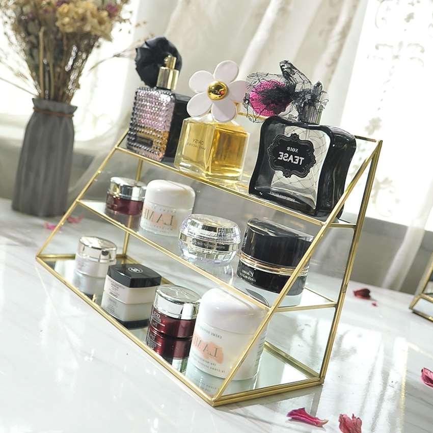 欧式玻璃收纳盒彩妆香水护肤品蛋糕架咖啡厅陈列摆设软装饰品摆件