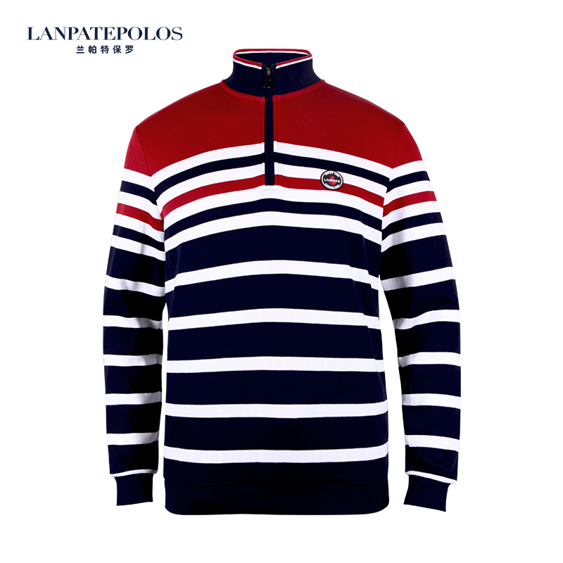 Lampart Pauls new color contrast stripe long sleeve mens base T-shirt autumn and winter casual cotton T-shirt