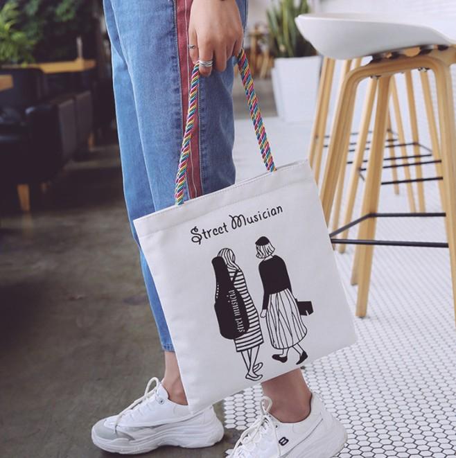 单肩帆布包女文艺休闲大包包学生补习袋印花环保购物袋包邮包LOGO