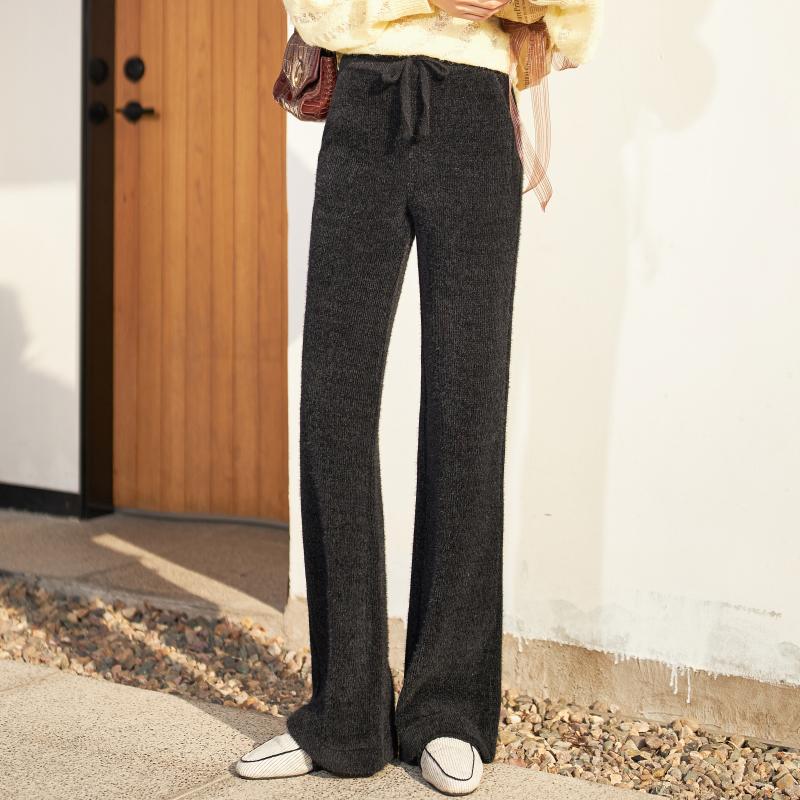 黑色垂感毛线针织高腰宽松阔腿裤限10000张券