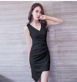 性感女秋季新款韩版修身包臀不规则紧身打底高中生连衣裙夏过膝盖