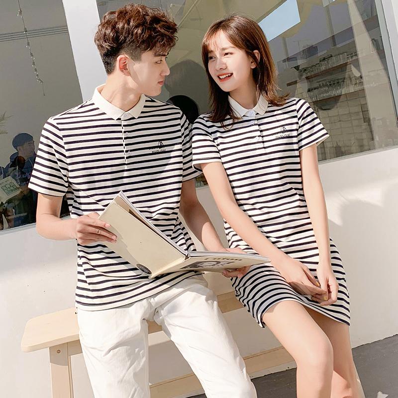 情侣装夏装2021新款夏季polo衫短袖条纹t恤裙 气质一衣一裙春装