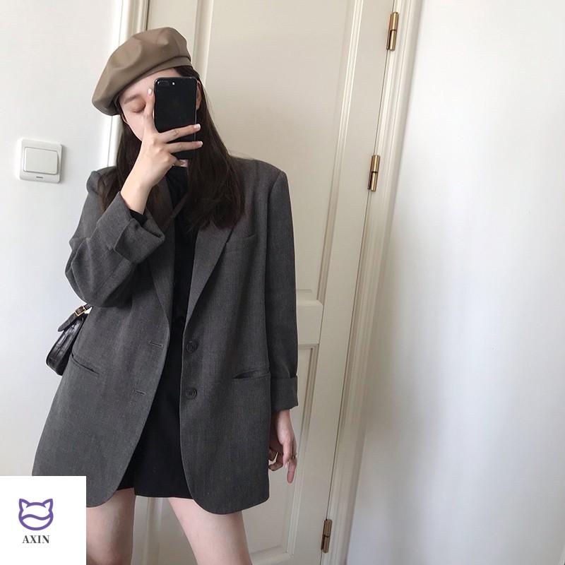 Suit coat women spring dress new Korean version 0 loose grey suit coat medium length net red small suit for women