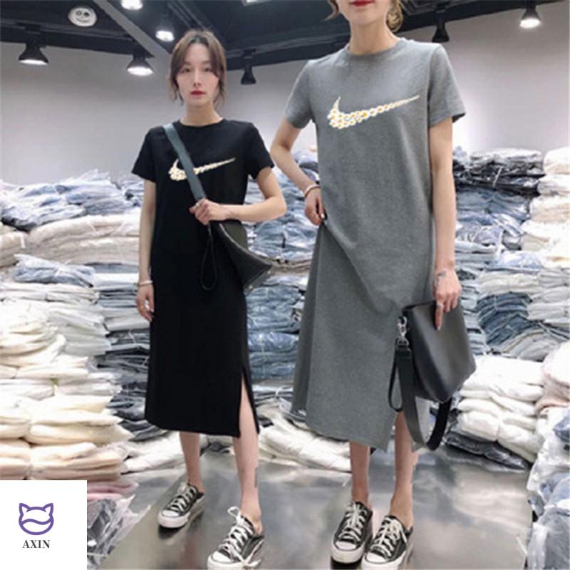 Summer 2020 new short sleeve student dress cover belly Hong Kong Style medium length fashion knee length casual T-shirt skirt for women