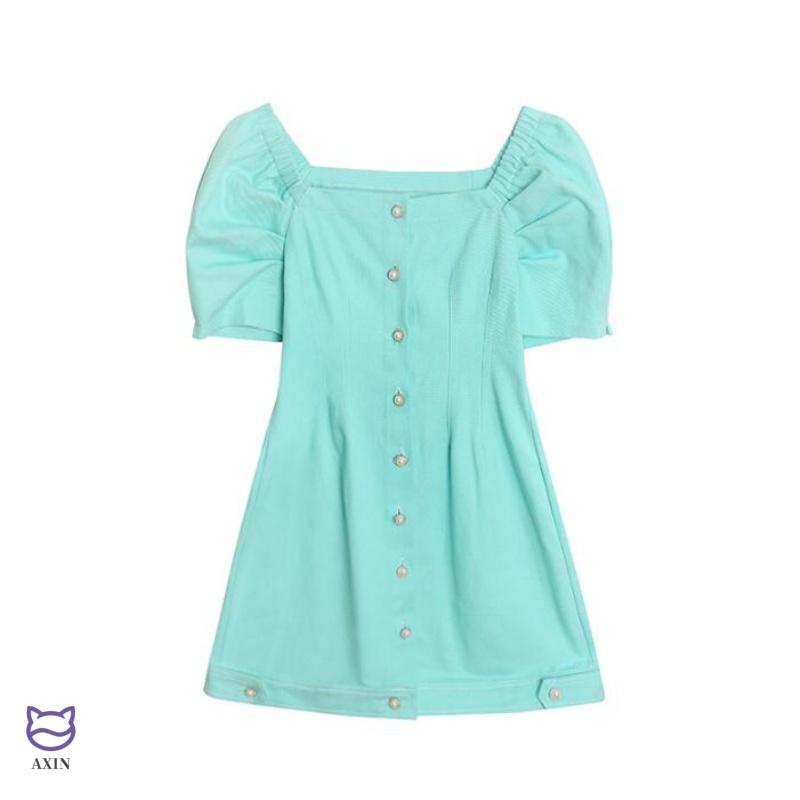 法式复古方领连衣裙女2020年新款春款韩版泡泡袖宫廷小众显瘦裙子