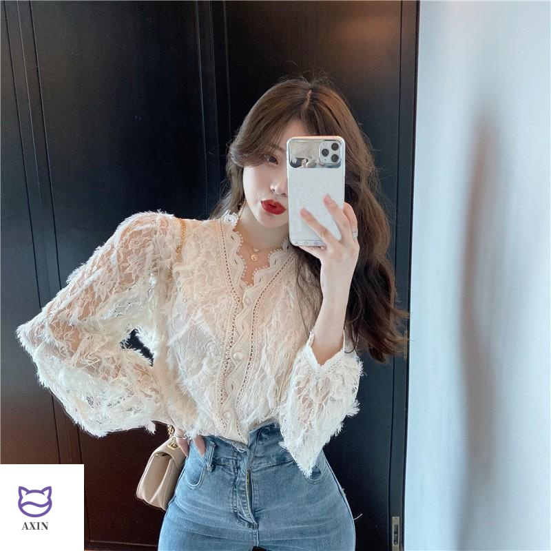 Super fairy V-Neck long sleeve lace hollowed out bottoming shirt in spring