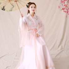 Ancient Chinese women's Hanfu, ruskirt, fairy pink, fresh and elegant, ancient style, big and wide sleeve original performance clothing, spring