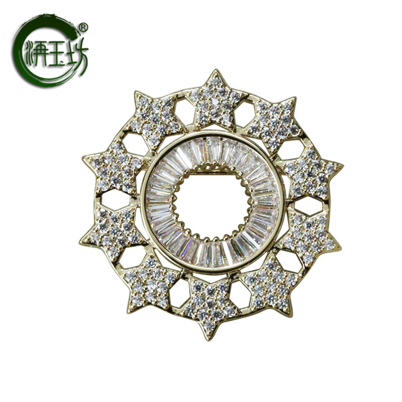 Jade square light gold temperament Brooch sun star pin suit accessories boys and girls personality Badge