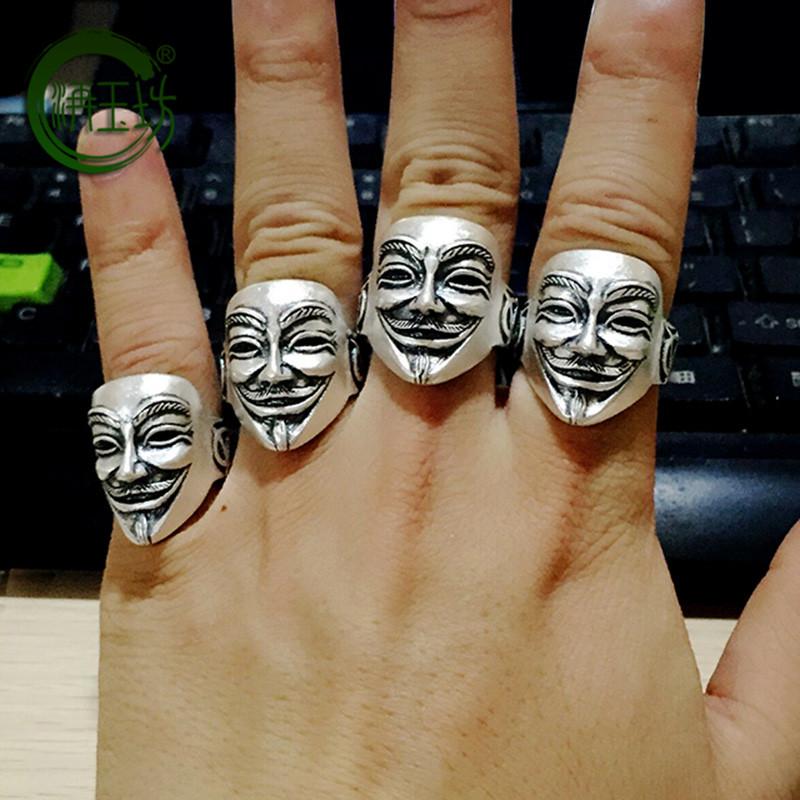 洅玉坊新款泰银霸气男戒子99足银个性时尚V字仇杀队面具开口戒指