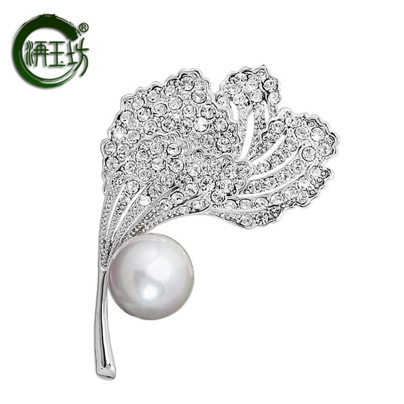 Jiyufang Brooch Korean Fashion Brooch female imitation pearl brooch silk scarf buckle Brooch platinum-