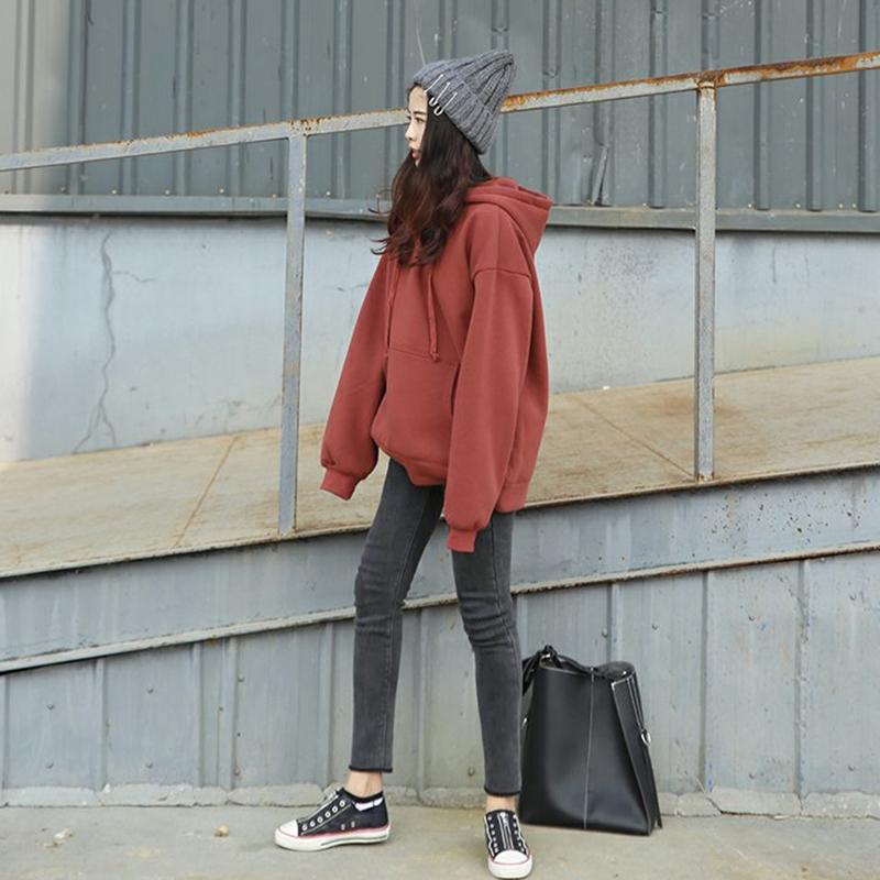 寬鬆加絨套頭純色連帽學生衛衣