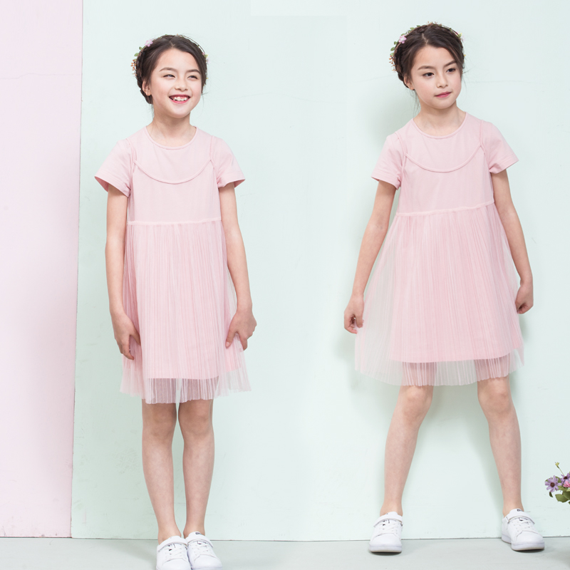 Fannie Bernie kids 2018 ss18 new pink solid two piece short sleeve dress sweet fairy yarn skirt