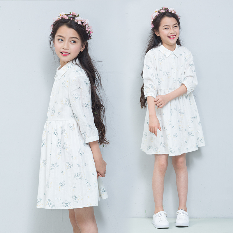 Fannie Bernie childrens 2018 new middle sleeve sweet print shirt skirt dress spring and summer comfortable loose cotton