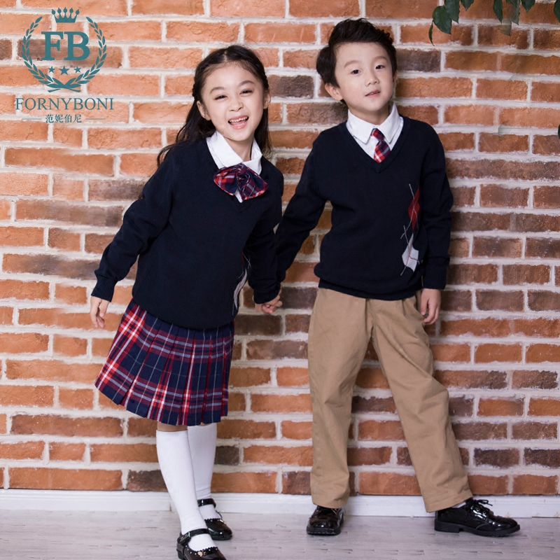 Fannie Burney 2017 cotton British college style kindergarten school uniform spring and autumn Plaid vest Pullover