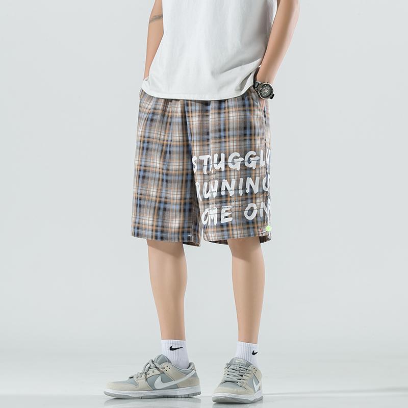 M-6XL夏季日系字母印花休闲裤格子裤可拆卸背带大码短裤KZ18-P45