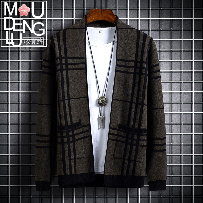 Autumn and winter youth mens clothing mens knitted cardigan fashion collar cardigan sweater mens coat bottom coat