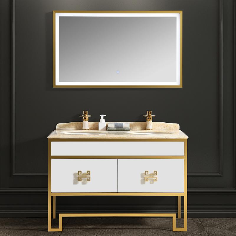 (用3380元券)新中式组合带led镜灯柜浴室柜