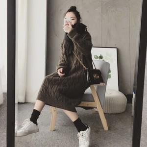 秋冬慵懶風網紅寬松套頭毛衣裙中長款過膝粗毛線麻花針織連衣裙女