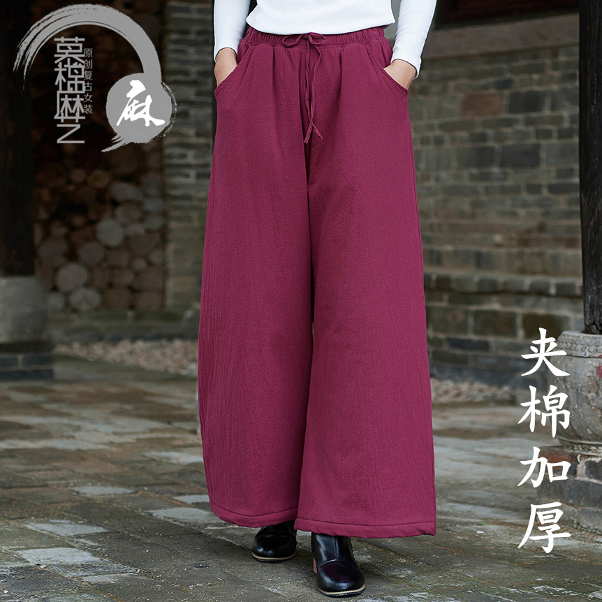 Womens wide leg pants with cotton and hemp and cotton for autumn and winter wear new style retro loose thermal pants, showing thin high waist straight cotton pants
