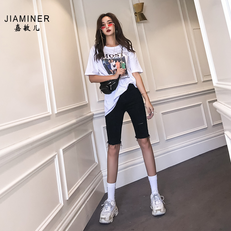 Tight 5-point pants women's straight Hong Kong style fashion ins wear 5-point denim shorts high waist black pants riding pants summer