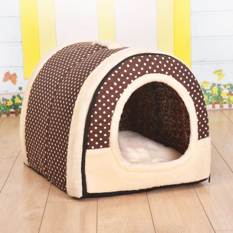 狗窝冬天保暖中小型犬可拆洗猫窝加厚泰迪封闭式带门狗窝房子型券后45.90元