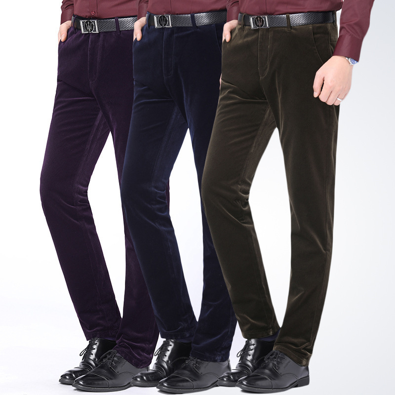 Corduroy pants winter new brand mens casual pants middle waist versatile Plush thickened non ironing warm pants