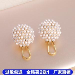 S925纯银耳扣式耳钉高级感米粒小珍珠耳环女日韩2020年新款耳饰潮