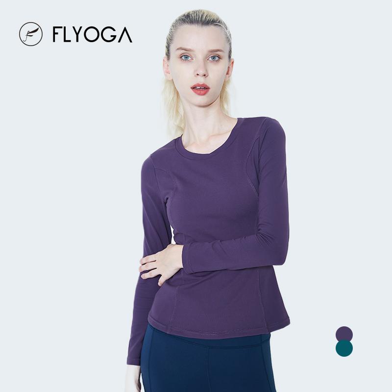 FLYOGA芙莱尔专业瑜伽服女运动健身上衣带胸垫轻薄显瘦长袖93416,可领取50元天猫优惠券