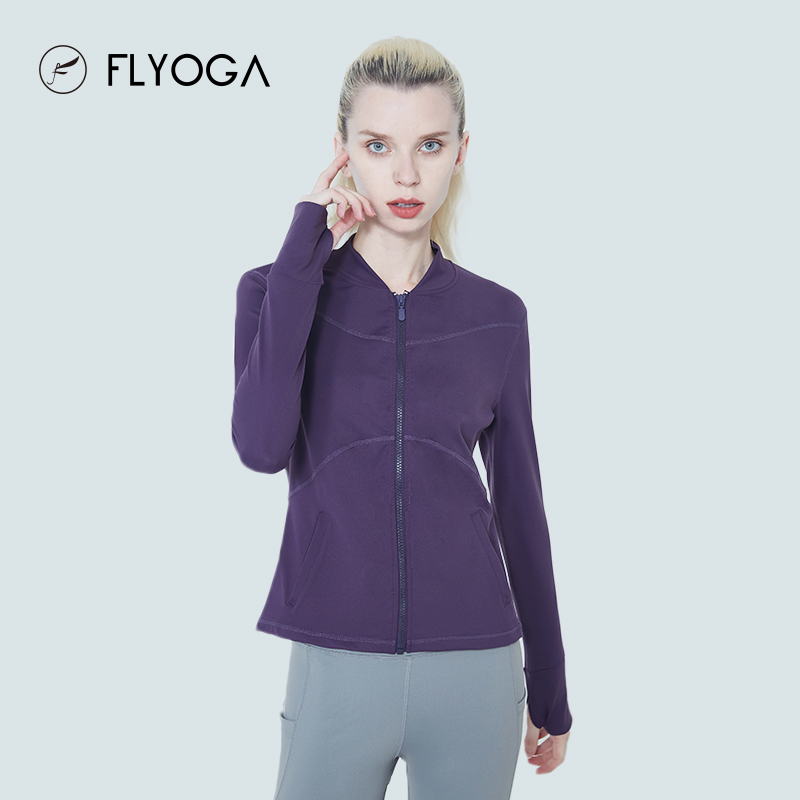 FLYOGA芙莱尔专业瑜伽服女发汗速干健身长袖跑步运动上衣外套,可领取40元天猫优惠券