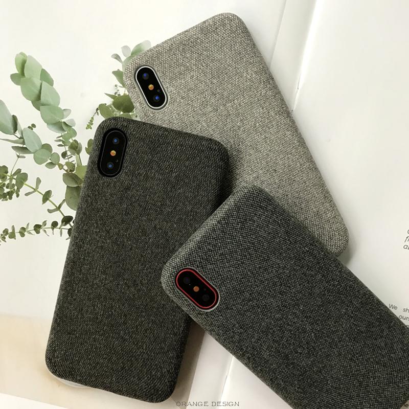 热销437件不包邮苹果x绒布手机壳纯色棉麻iphone7/8plus秋冬简约布艺xs max软壳6