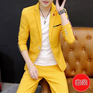 夜场帅气西服外套ins潮牌礼服一套装 小西装 男士 薄发型师韩版 个性