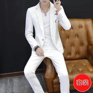 2件套男士休闲西服发型师韩版潮流绣花小西装男装修身帅气一套装